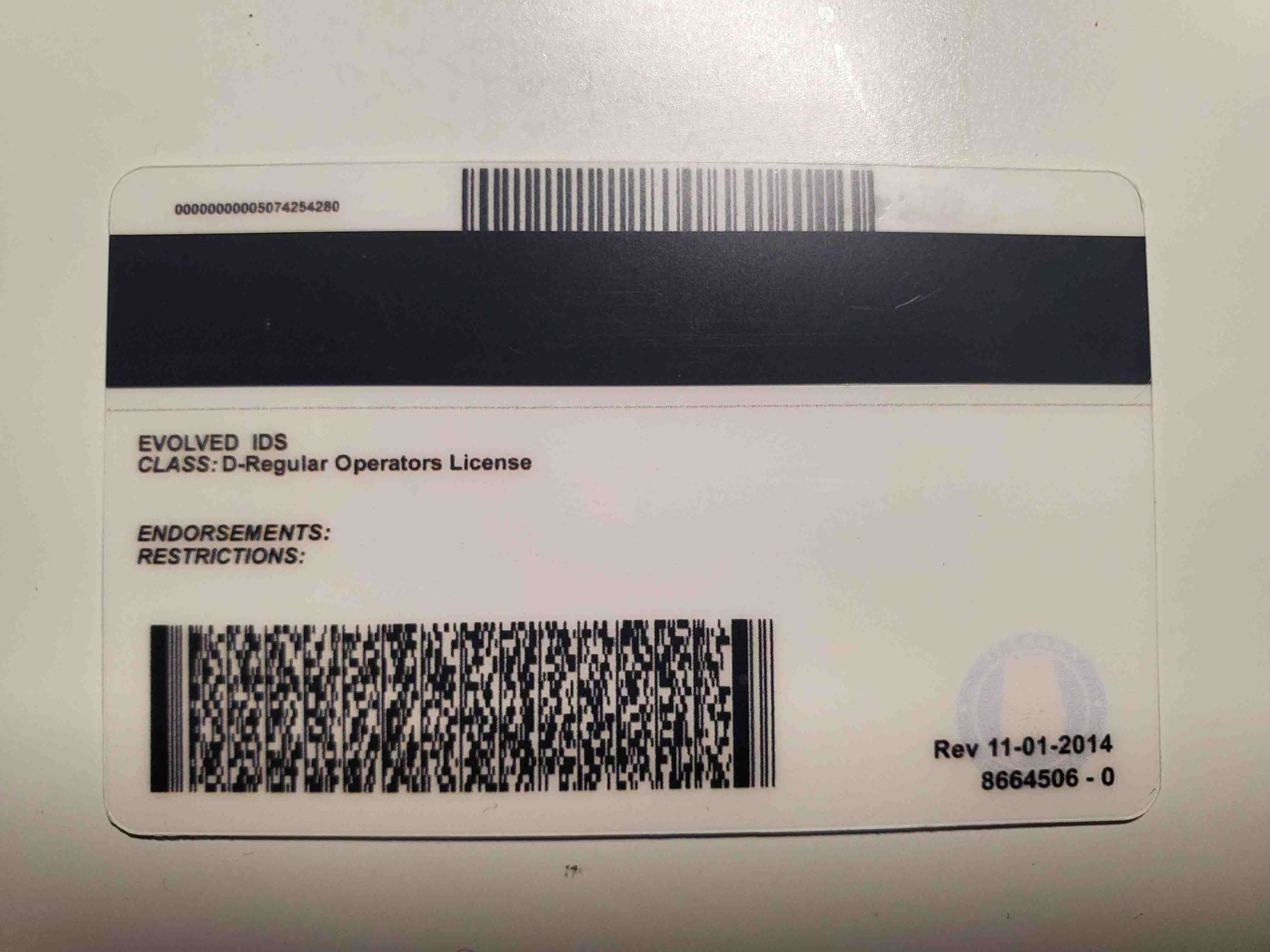 Alabama Fake ID Back