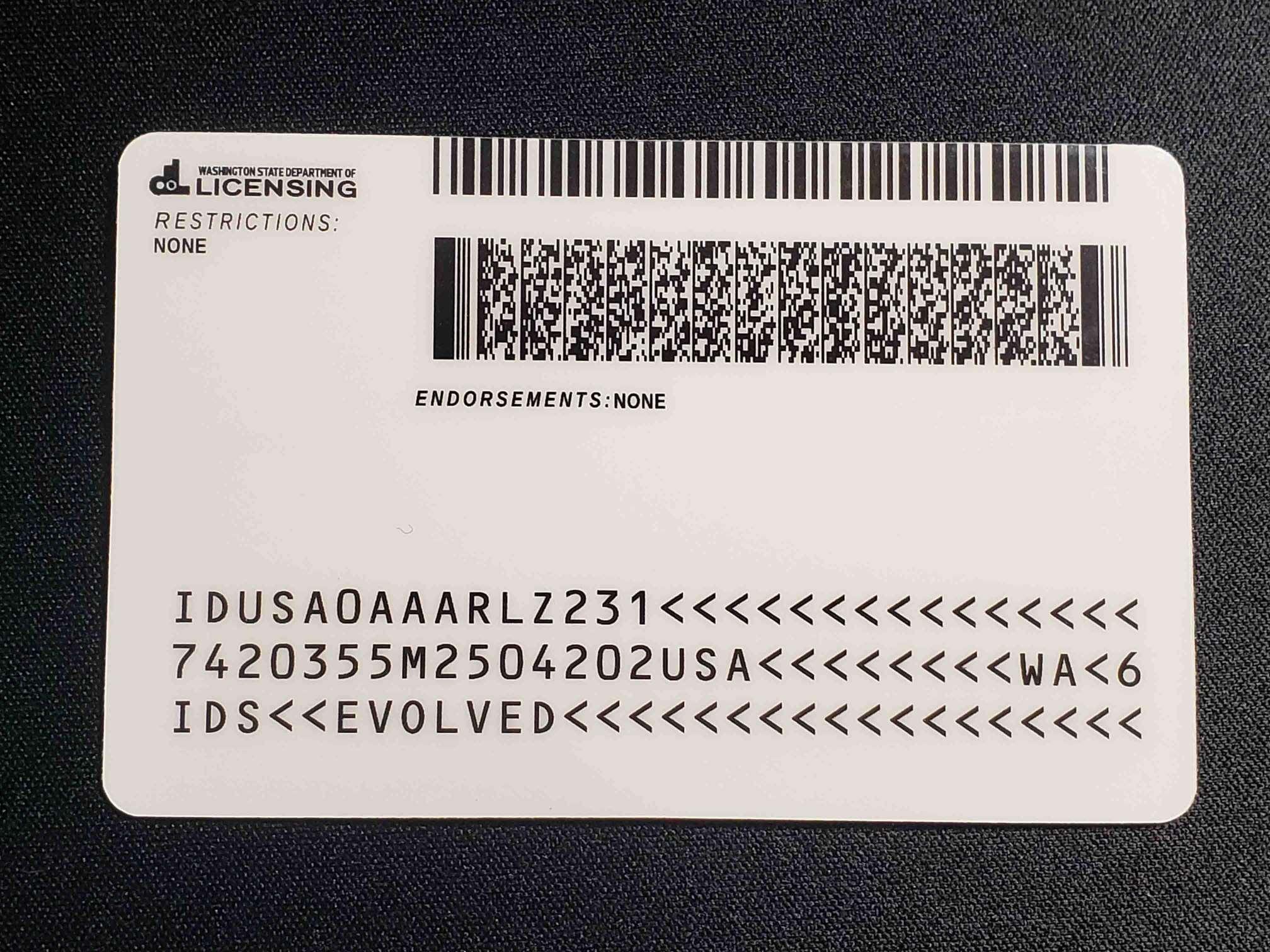 Washington EDL Fake ID Back