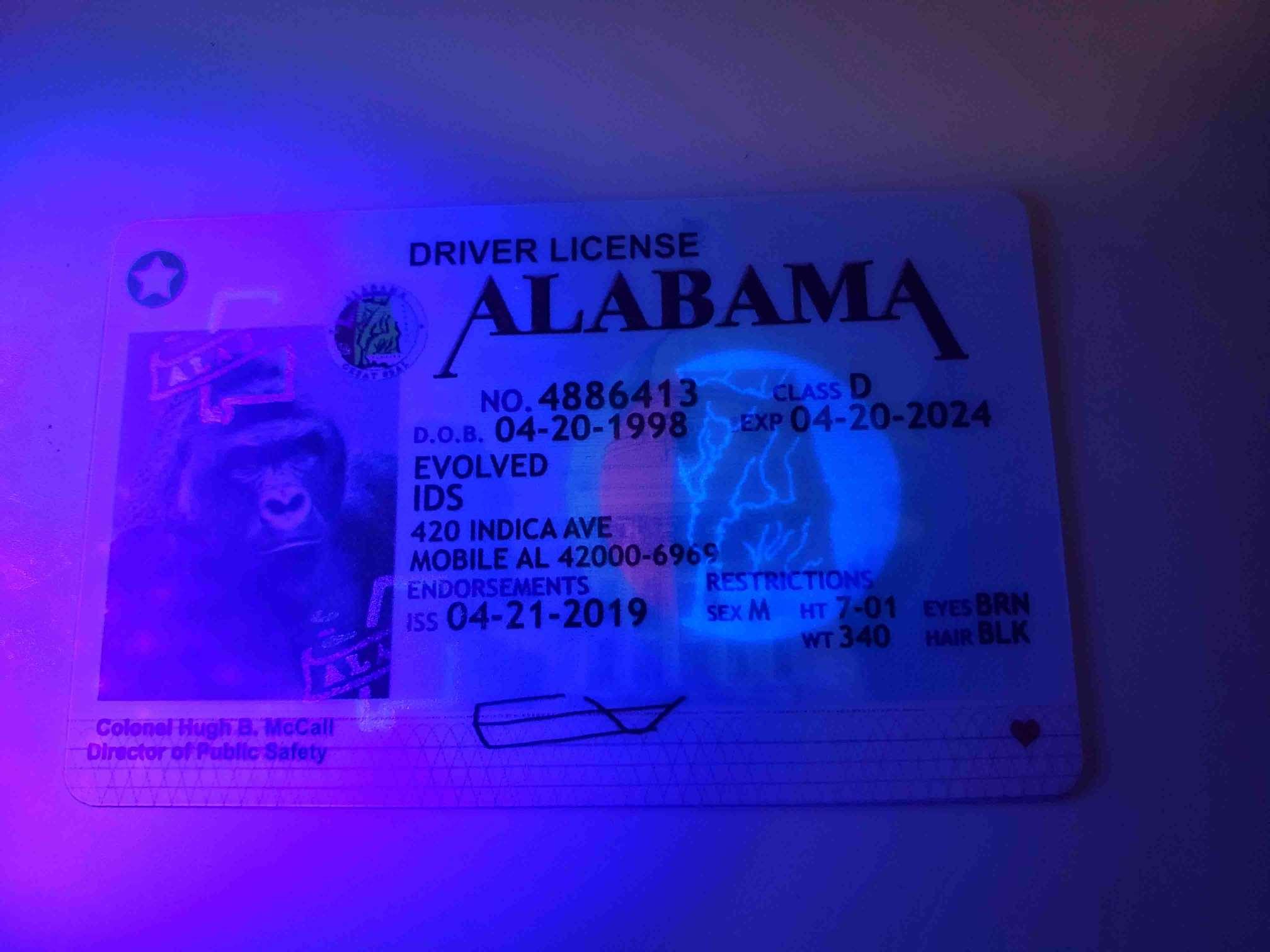 Alabama Fake ID UV