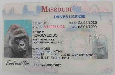 Missouri Fake ID Front