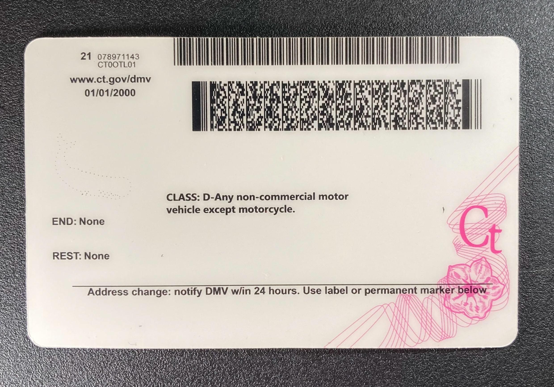 Connecticut Fake ID Back