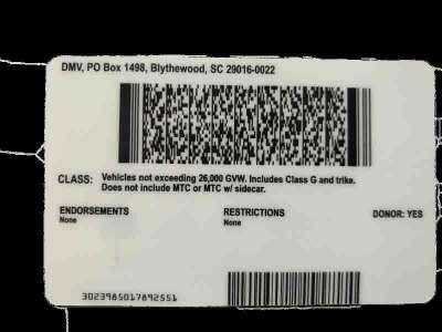 South Carolina (Old Version) Fake ID Back
