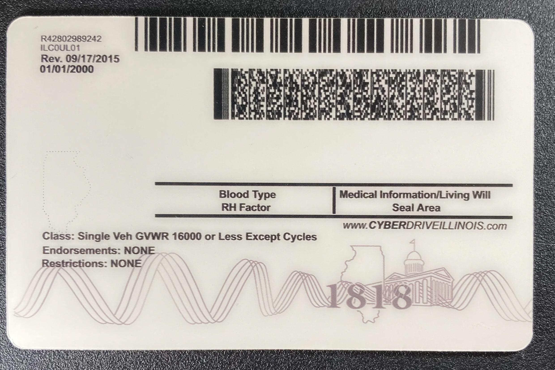 Illinois Fake ID Back