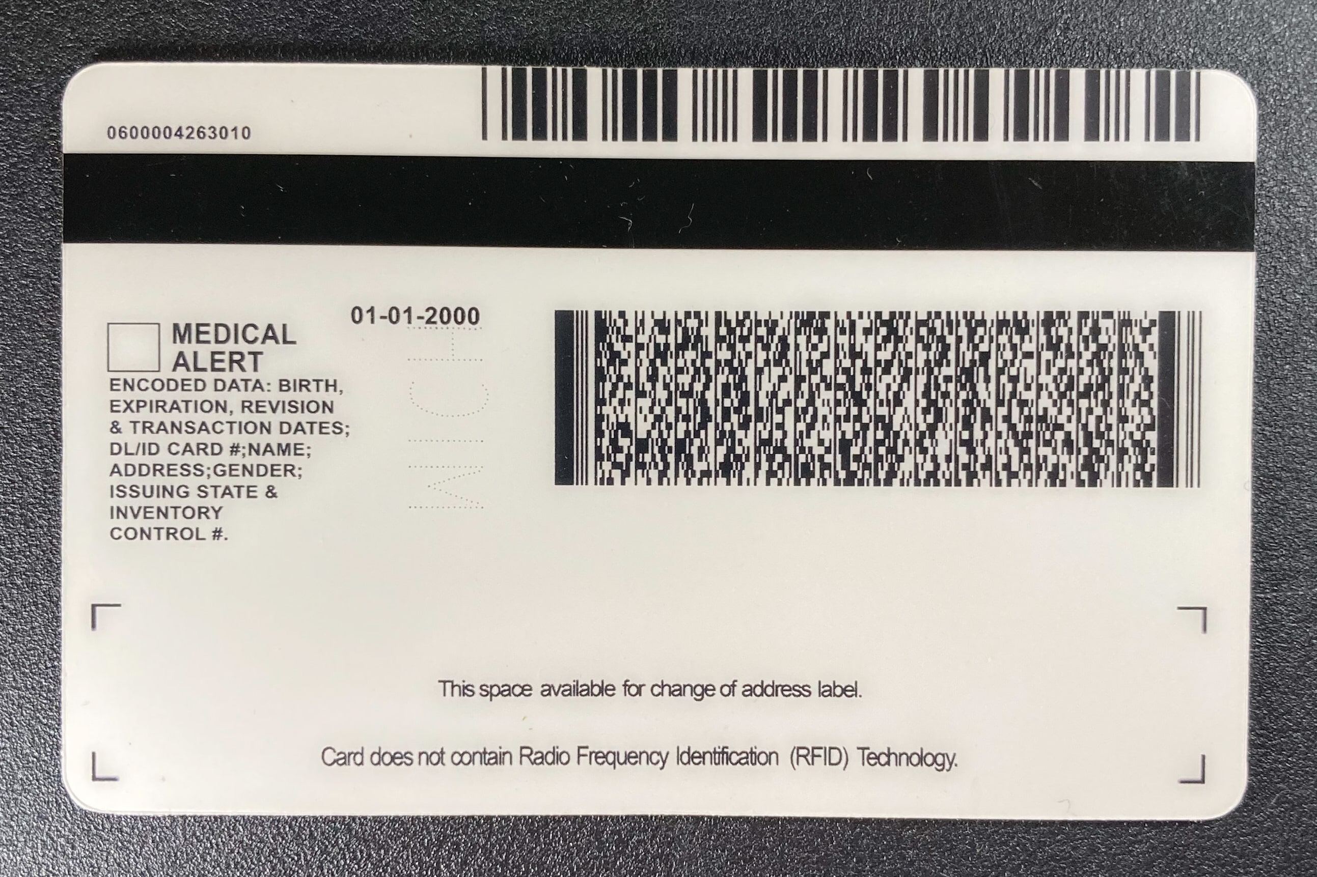 Michigan Fake ID Back