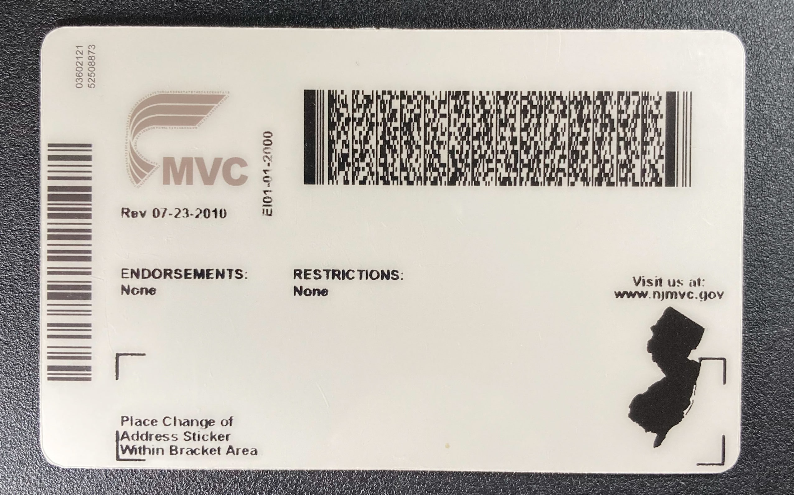 New Jersey Fake ID Back