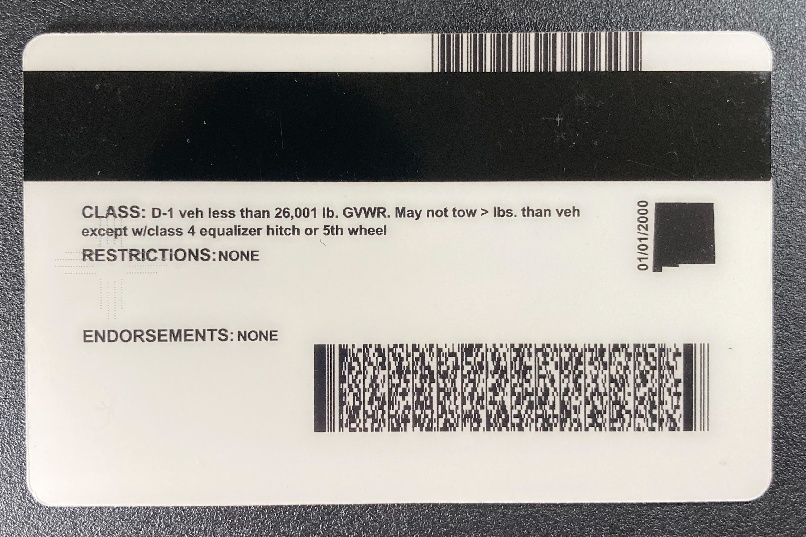 New Mexico Fake ID Back