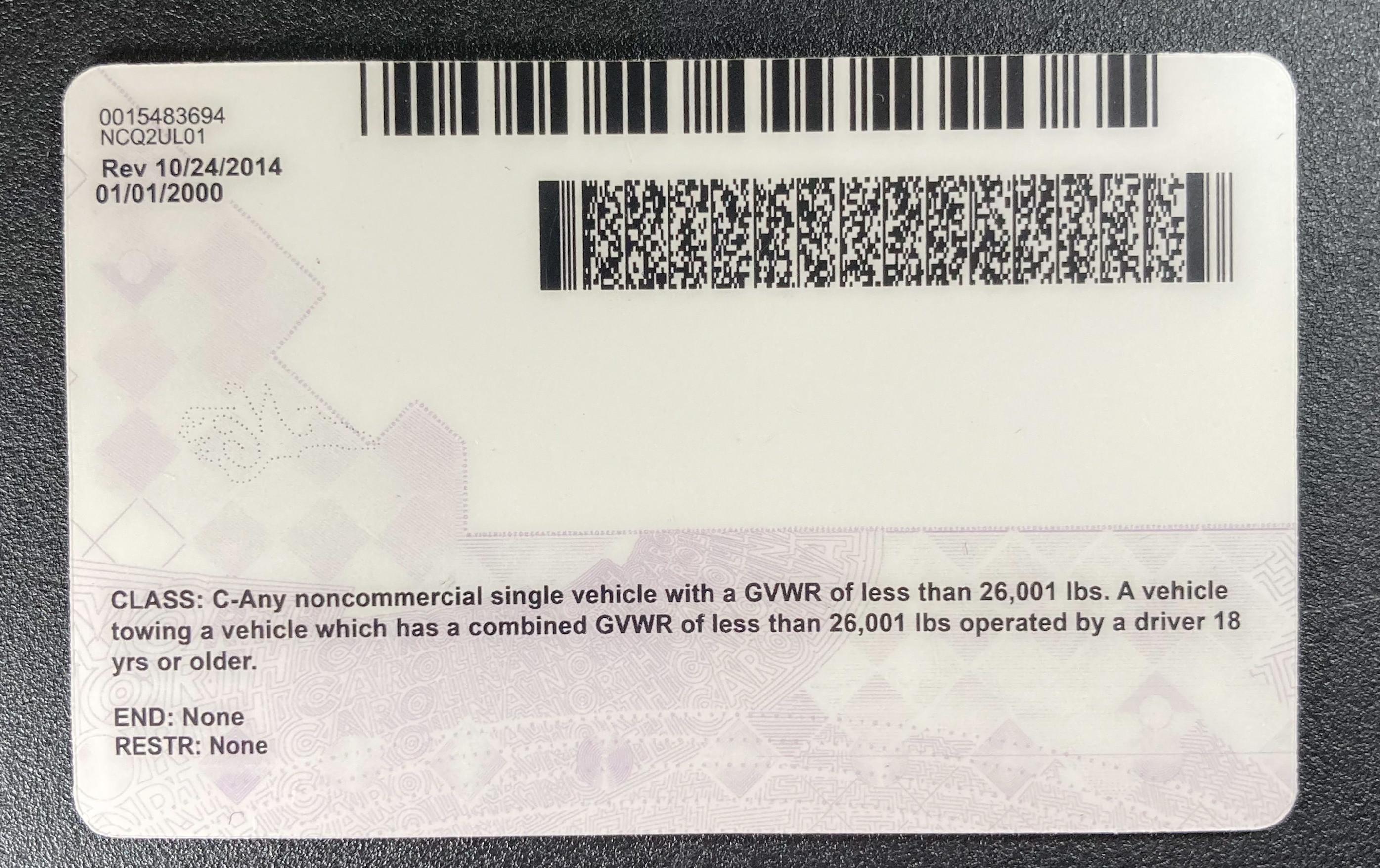 Oregon (Old Version) Fake ID Back