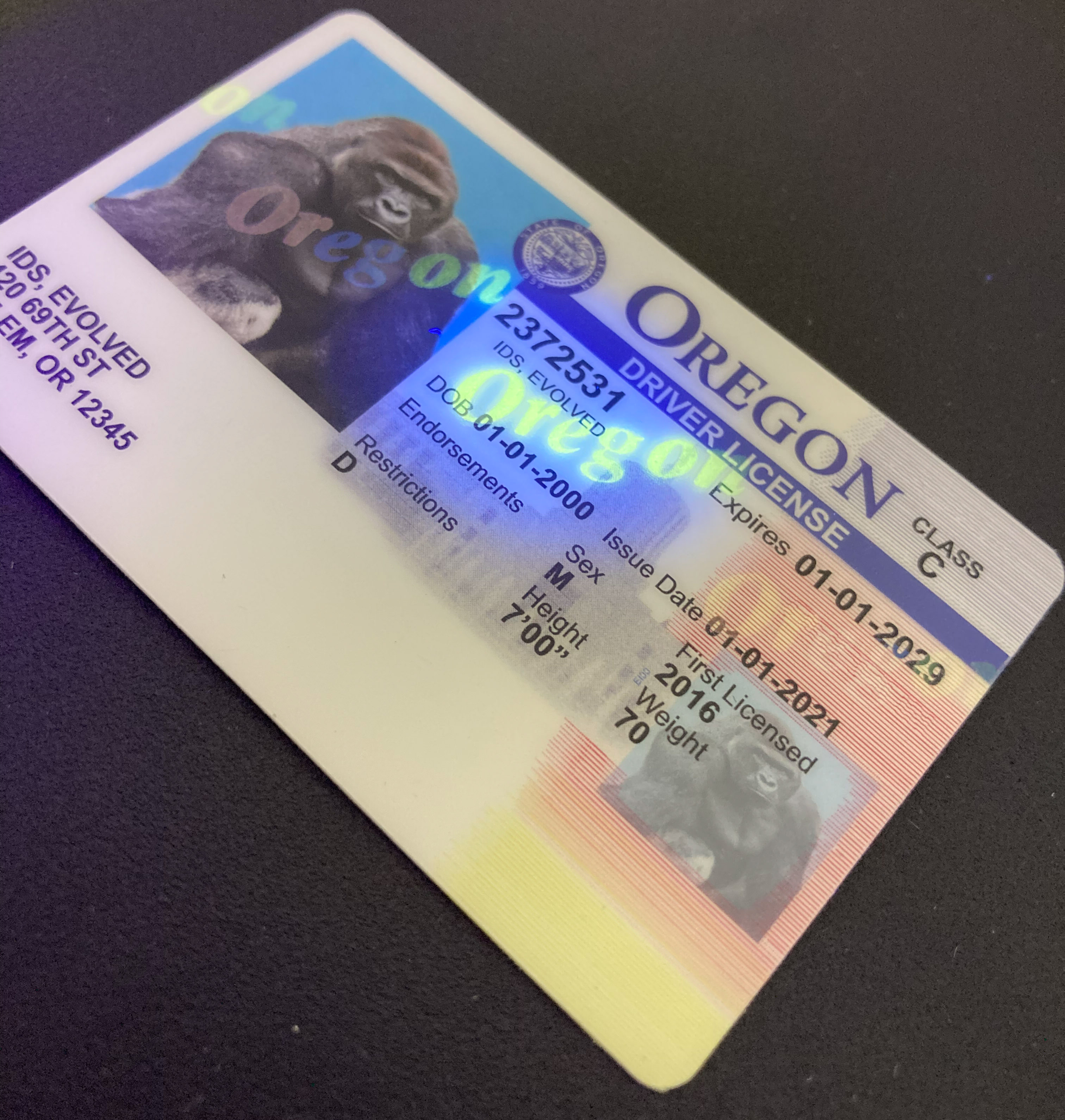 Oregon (Old Version) Fake ID UV