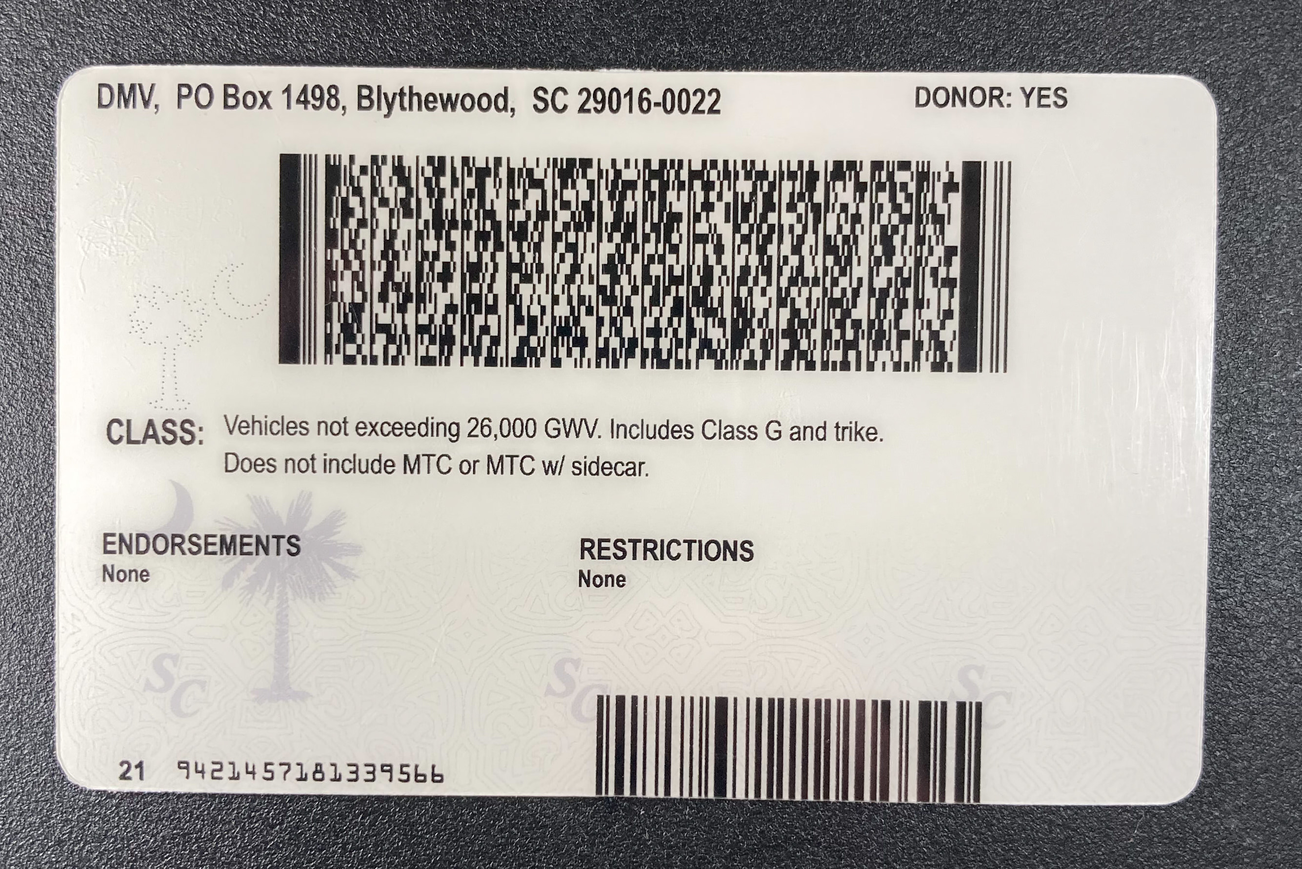South Carolina (New Version) Fake ID Back