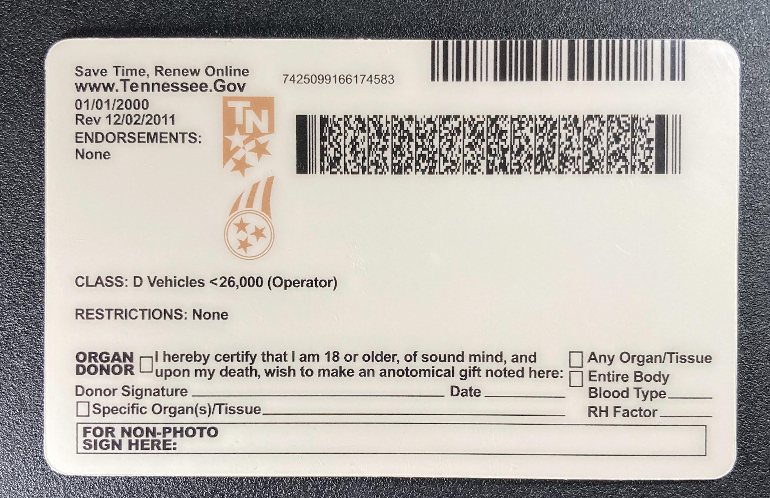 Tennessee Fake ID Back