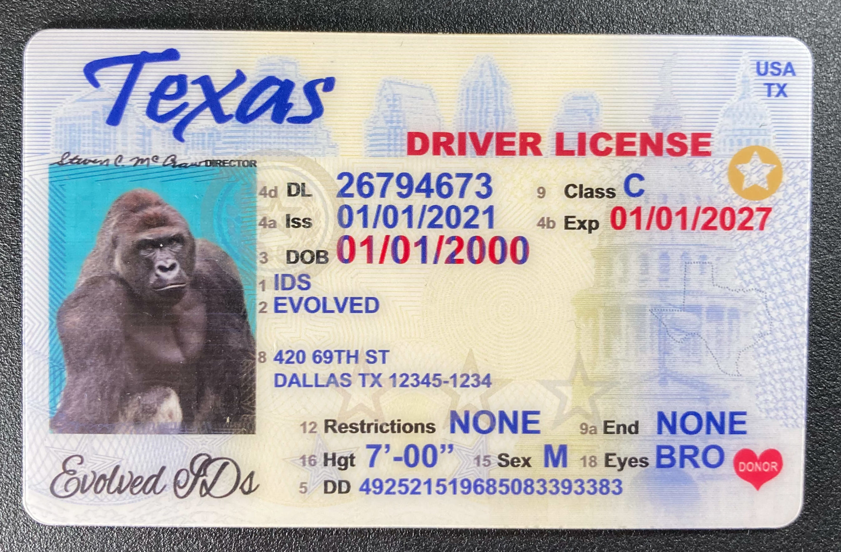 Texas Fake ID Front