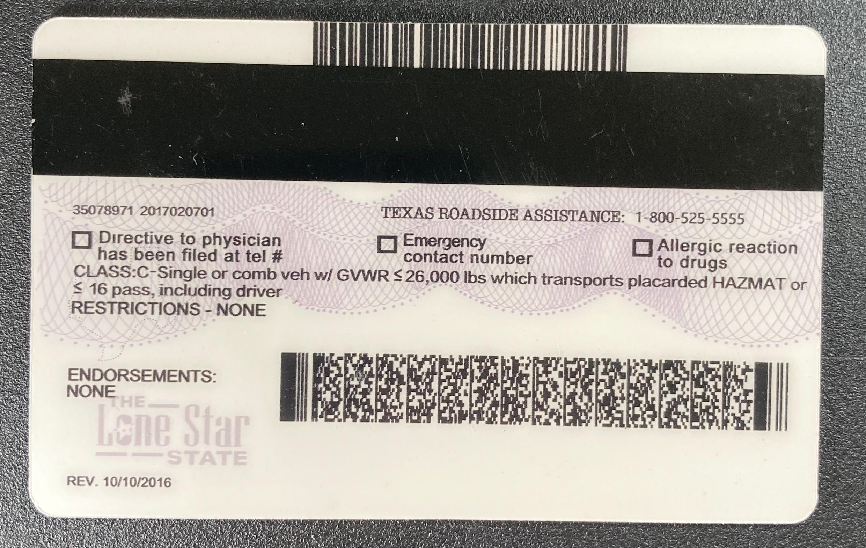 Texas Fake ID Back