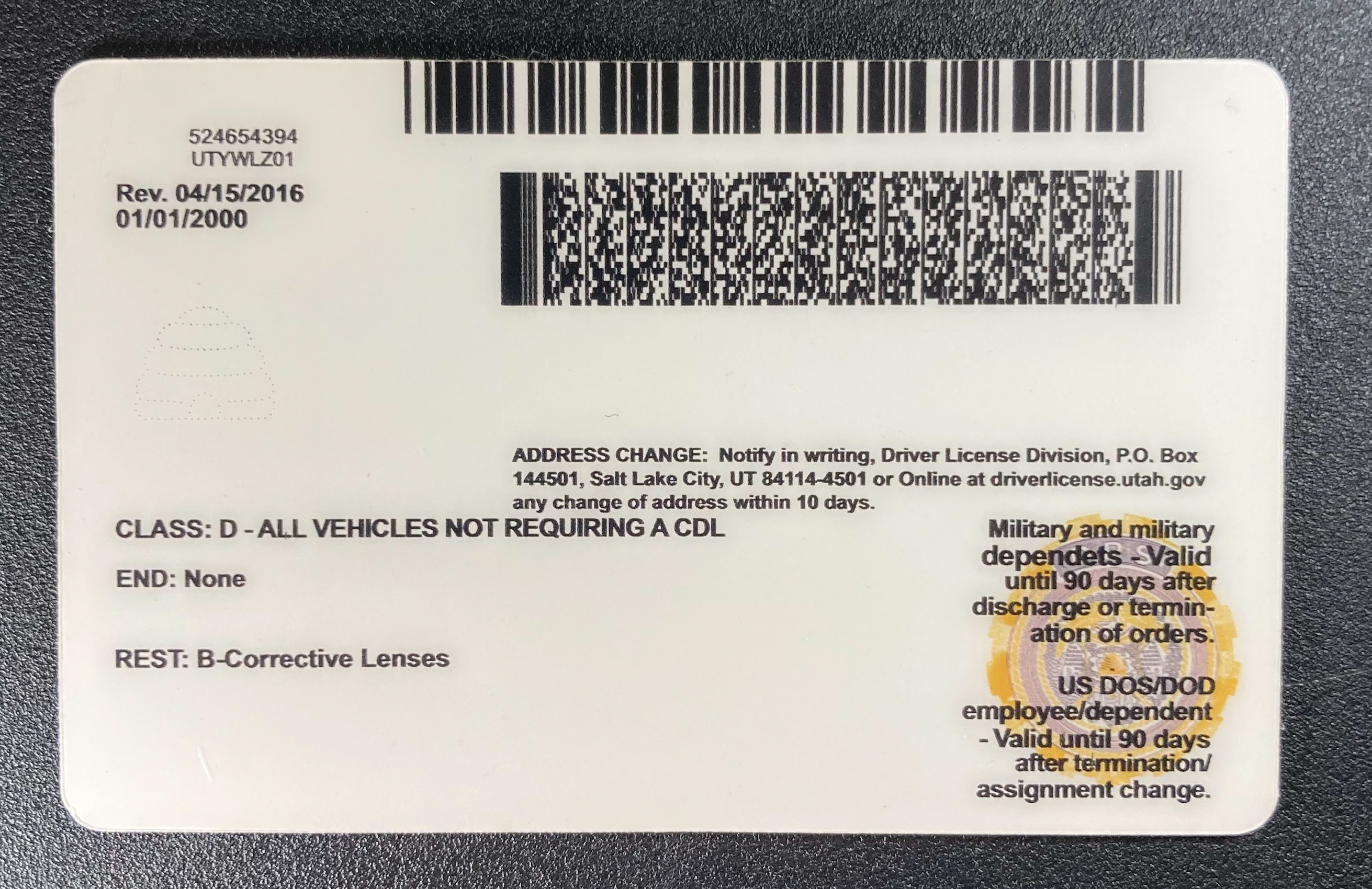 Utah Fake ID Back