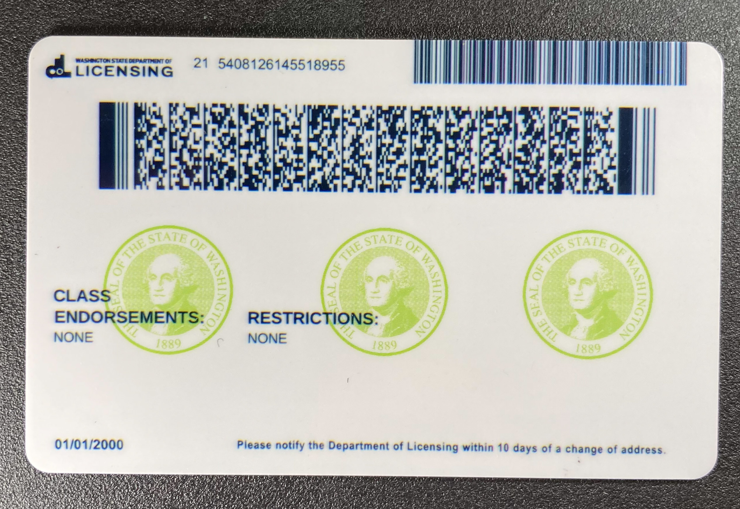 Washington (Old Version) Fake ID Back